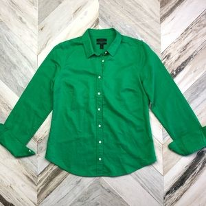 J.Crew Perfect Shirt in Cotton-Linen Green Size 8